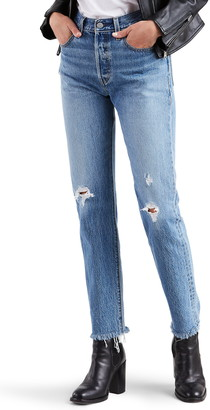 Levi's 501® High Waist Ripped Fray Hem Skinny Jeans