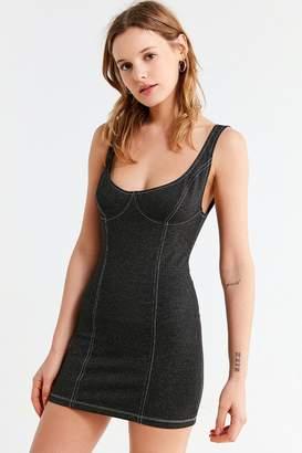 Motel Contrast Stitch Denim Mini Dress