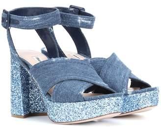 861232dbaa0 Miu Miu Denim and glitter plateau sandals