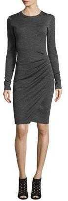 MICHAEL Michael Kors Long-Sleeve Ruched Jersey Dress, Derby $255 thestylecure.com