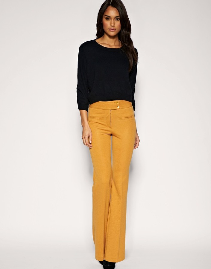 ASOS Tailored Ponti High Waisted Slim Flare Pants