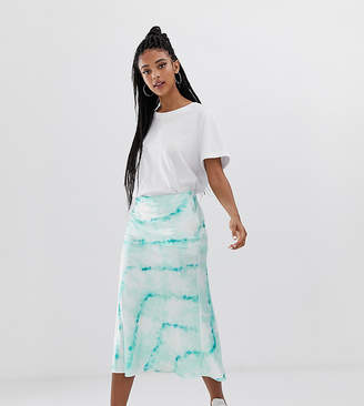 Bershka satin skirt in blue tie dye