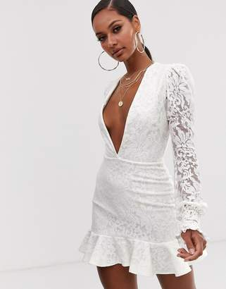 John Zack plunge front lace flippy mini dress in white