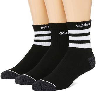adidas Core 3 Stripe 3 Pair Quarter Socks-Mens