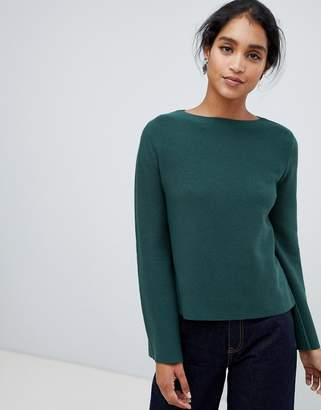 Oasis bell sleeve compact knitted sweater in green