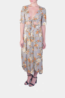 Final Touch Floral Tie-Crop-Skirt Set