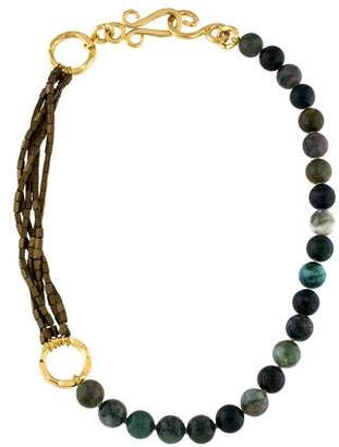 Stephanie Kantis Moss Agate & Bead Necklace