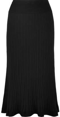 DKNY Urban Pleated Stretch-knit Midi Skirt - Black