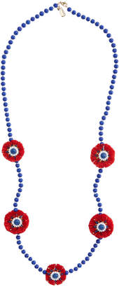 Vineyard Vines Blue & Red Beaded Circle Tassel Necklace