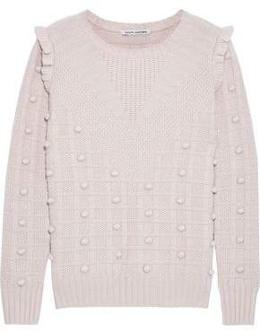 Autumn Cashmere Ruffle-trimmed Pompom-embellished Textured-knit Sweater