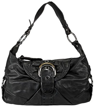 B. Makowsky Open Box Black Leather Hobo Purse