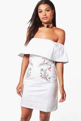 boohoo Jess Embroidered Denim Bardot Frill Dress