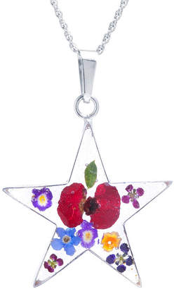 FINE JEWELRY Everlasting Flower Womens Sterling Silver Star Pendant Necklace