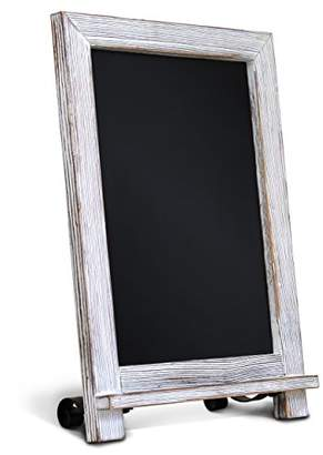 """Rustic Whitewash Tabletop Chalkboard Sign / Hanging Magnetic Wall Chalkboard / Small Countertop Chalkboard Easel / Kitchen Countertop Memo Board / 9.5"""" x 14"""" . Weddings"""