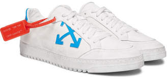 Off-White Distressed Leather-Trimmed Canvas Sneakers