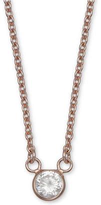 "Giani Bernini Cubic Zirconia Bezel Pendant Necklace, 16"" + 2"" extender, Created for Macy's"