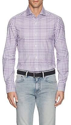 Isaia Men's Checked Cotton Poplin Shirt - Purple Pat