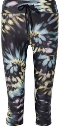 The Upside Cropped Tie-dyed Stretch Leggings - Navy