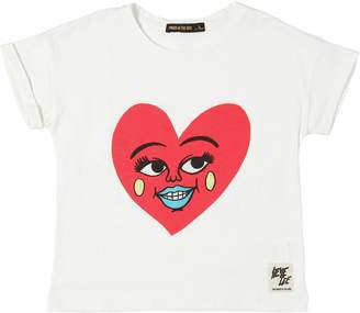 Finger In The Nose Heart Print Cotton Jersey T-Shirt