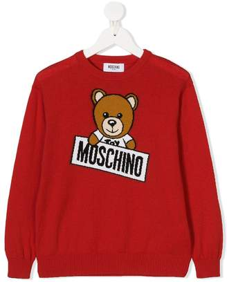 Moschino Kids teddy embroidered jumper