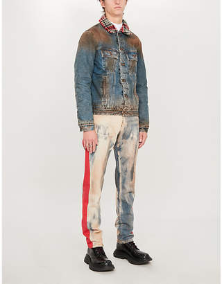 Off-White Shearling-collar faded denim jacket