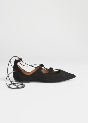 And other stories Pointed Lace Up Suede Flats