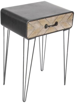 DecMode Decmode 26 X 17 Inch Modern Iron and Wood End Table With Chevron Patterned Drawer, Black