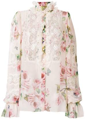Dolce & Gabbana floral print and lace panel shirt