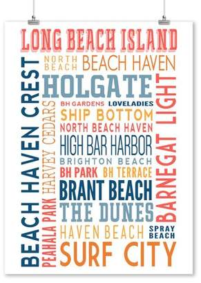 Long Beach Island, New Jersey - Typography (white) - Lantern Press Artwork (9x12 Art Print, Wall Decor Travel Poster)