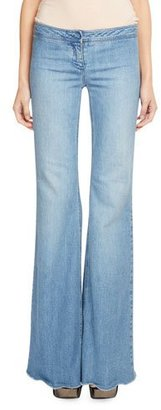 Balmain Low-Rise Flared Jeans, Medium Blue $721 thestylecure.com