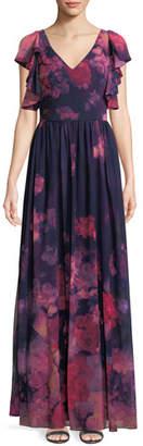 David Meister Floral Chiffon Dress w/ Ruffle Trim