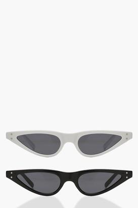 boohoo 2 Pack Skinny Cat Eye Sunglasses