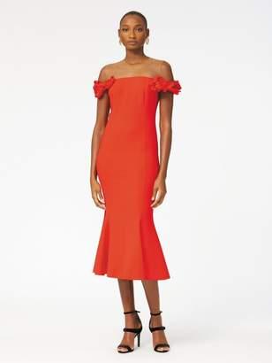 Oscar de la Renta Floral-Embroidered Double-Face Stretch-Wool Cocktail Dress