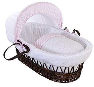 Clair De Lune Stars and Stripes Dark Wicker Moses Basket inc. bedding, mattress & adjustable hood (Grey)
