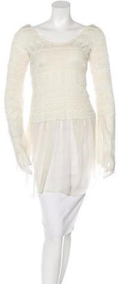 Jean Paul Gaultier Silk-Trimmed Crochet Top $110 thestylecure.com