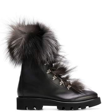 Fabiana Filippi fur embellished lace-up boots