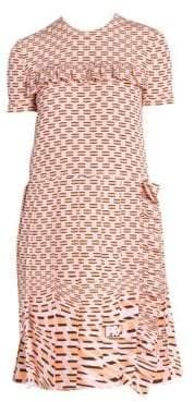 Prada Crepe de Chine Ruffle Dress