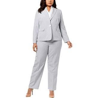 1a9e9489d9 Le Suit Women s Size Plus Seersucker 1 Bttn Peak Lapel Pant Suit