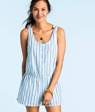 Vineyard Vines Hope Bay Stripe Button Front Romper