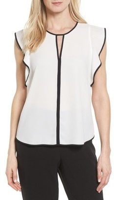 Women's Vince Camuto Contrast Piped Keyhole Blouse $79 thestylecure.com