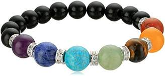Genuine Black Agate and Seven Chakra Stone with Fine Silver Plated Bronze Cubic Zirconia Accents Beaded Bracelet