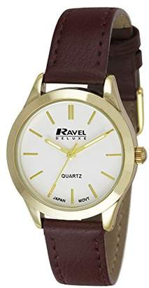 Ravel Deluxe Classic Women's Quartz Watch with Silver Dial Analogue Display and Brown Leather Strap RD006.2GL