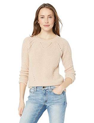 Lucky Brand Women's Scoop Neck Solid Pointelle Sweater
