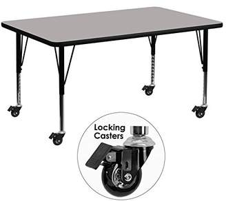 Flash Furniture Mobile 30 by 60-Inch Rectangular Activity Table with High Pressure Grey Laminate Top and Height Adjustable Pre-School Legs