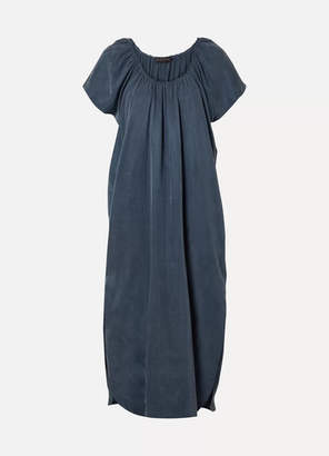 Hatch The Goddess Gathered Cupro Midi Dress - Navy