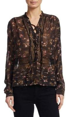 Zimmermann Sunny Floral Self-Tie Blouse