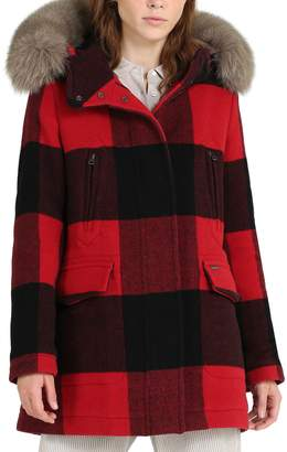 Woolrich McKenzie Buffalo Check Coat with Genuine Fox Fur Trim