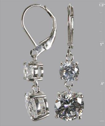 Jardin silver CZ double drop earrings