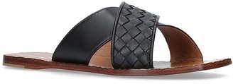 Bottega Veneta Leather Interweave Cross Slides