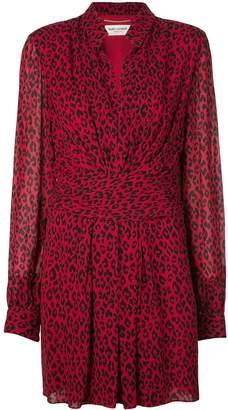 Saint Laurent leopard draped short dress